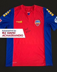 David Achaerandio Autographed, Game Worn, Authentic 2019 USL Flint City Bucks Red Jersey - League Two National Championship Season