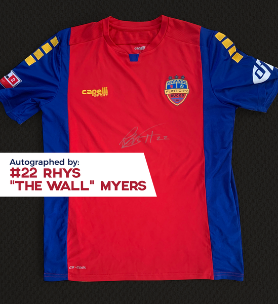 Rhys Myers Autographed, Game Worn, Authentic 2019 USL Flint City Bucks Red Jersey - League Two National Championship Season