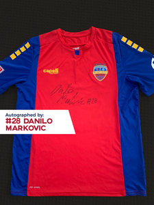 Danilo Markovic Autographed, Game Worn, Authentic 2019 USL Flint City Bucks Red Jersey - League Two National Championship Season