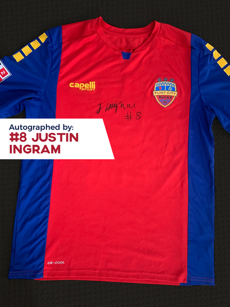 Justin Ingram Autographed, Game Worn, Authentic 2019 USL Flint City Bucks Red Jersey - League Two National Championship Season