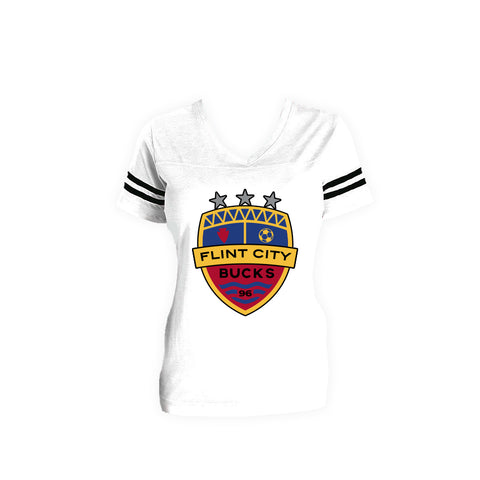 FCB Crest Women's Stripe Vneck Full Color