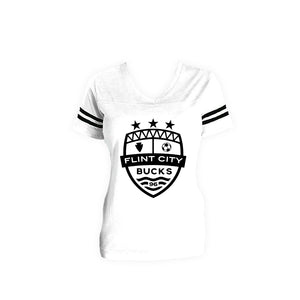 FCB Crest Women's White/Black Stripe Vneck
