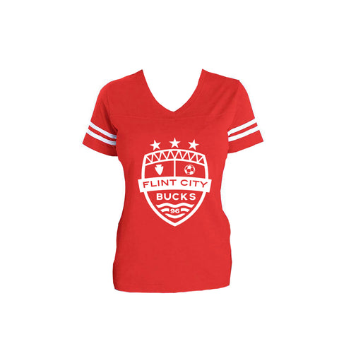 FCB Crest Women's Red/White Stripe Vneck