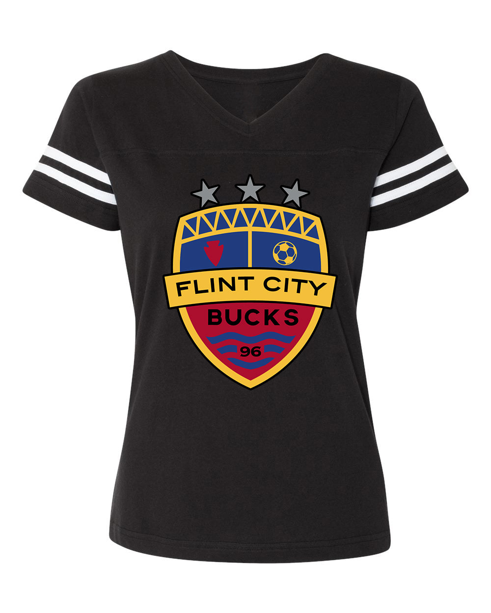 FCB Crest Full Color Women's Stripe Vneck Black