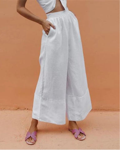 Fashion Solid Color Elastic Waist Wide Leg