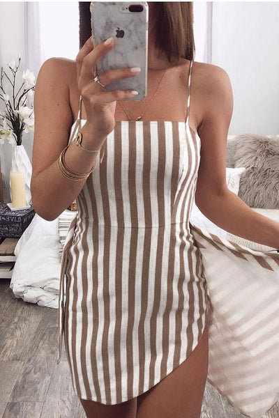 Sexy Stripe Sleeveless Bodycon Mini Dress