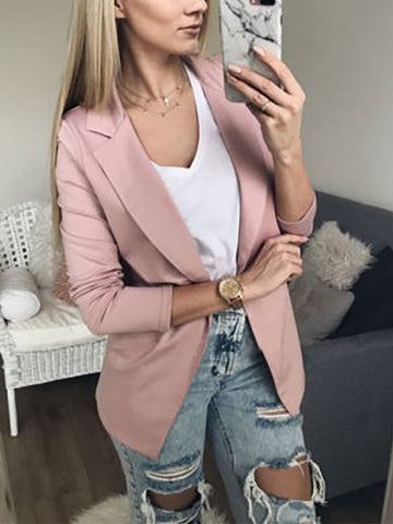Casual Turndown Collar Pure Colour Long Sleeve Small Suit