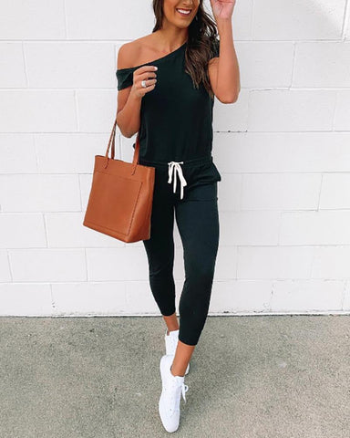 Casual Lace-Up Strapless Short-Sleeved Jumpsuit