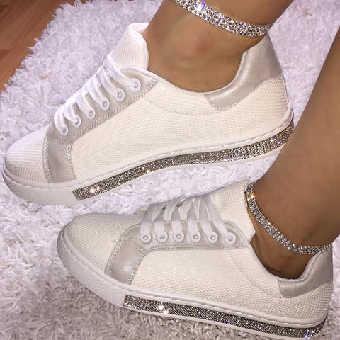 Women Casual Mesh Breathable Rhinestone Side Sneakers