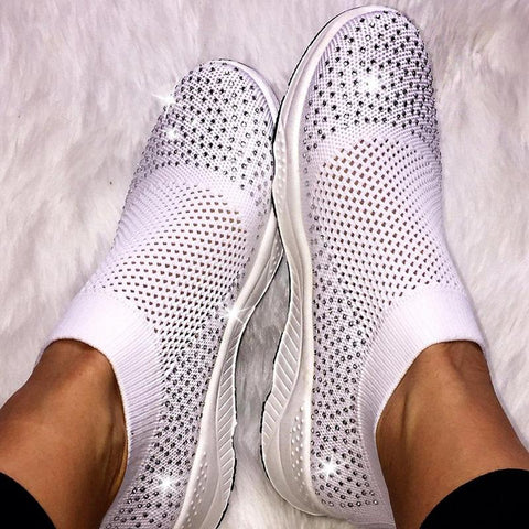 Casual Round Toe Mesh Breathable Rhinestone Women Flats