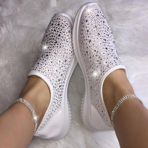 Elegant And Simple Casual Bright Diamond White Lazy Single Shoes