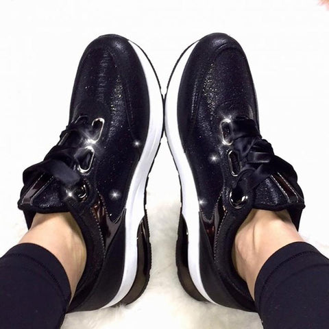 Fashion Trend PU Leather Black Lace Casual Shoes Women