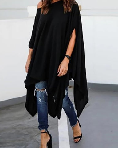 Casual Shoulder Bat Sleeves Split Solid Color Sweatshirts