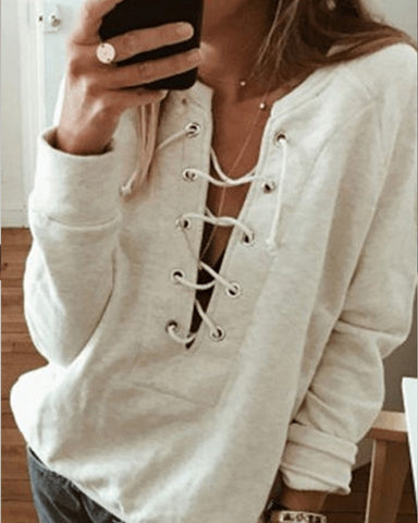Casual V Neck Long Sleeve Plain Sweatshirt