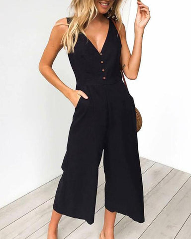 Casual Loose Slim V   Collar Button Pure Color Wide Leg Jumpsuit