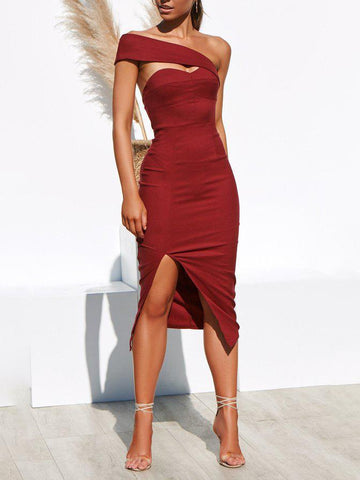 Fashion Sexy One-Shoulder Solid   Color Slim Dress(Video)