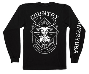Country USA Deer Shield Long Sleeve