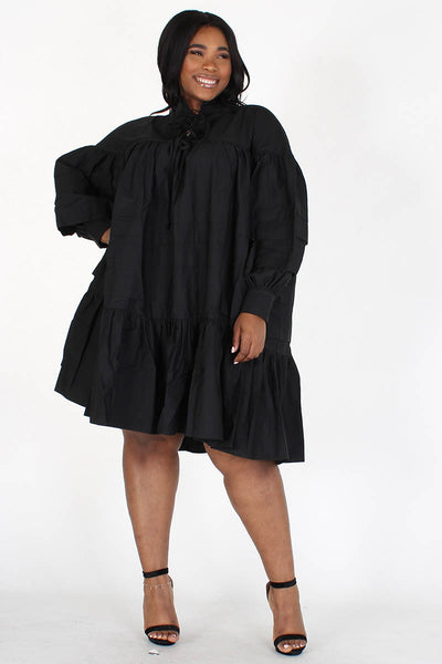 Mock Ruffled Midi Dress