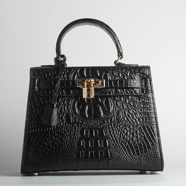 Marcelle Crocodile Embossed Satchel