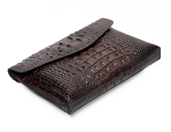 Crocodile Effect Leather Clutch