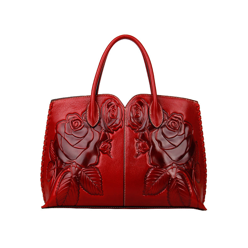 Rose Floral Embossed Leather Tote