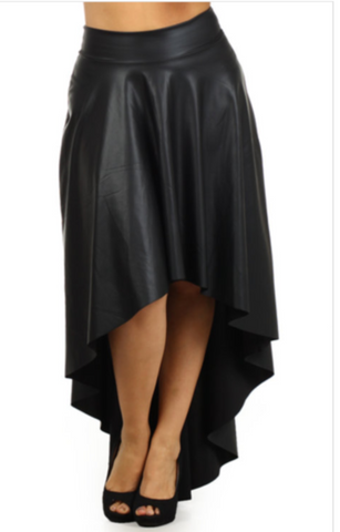 High low Faux Leather Skirt