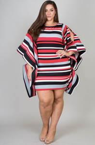 Band Sleeve Striped Dress
