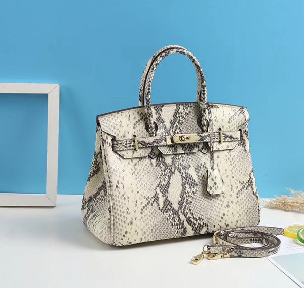 Wilton Python Leather Pattern Satchel