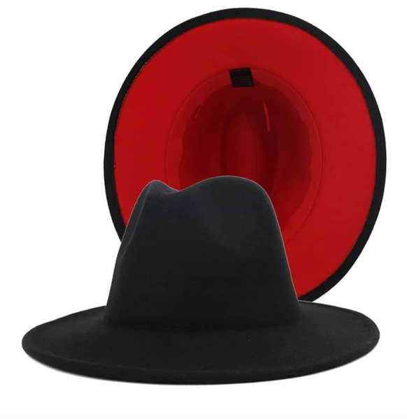 Red Bottom Panama Wide Brim Hats