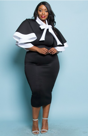 Black & White Ribbon Midi Dress