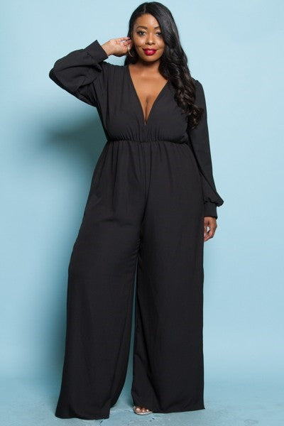Deep V, Puffed Sleeved, Slit Side Jumpsuit