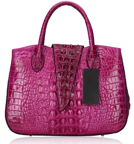 Embossed Crocodile Flap Satchel