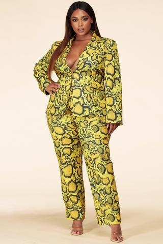 Yellow & Black Python Print Pant Suit