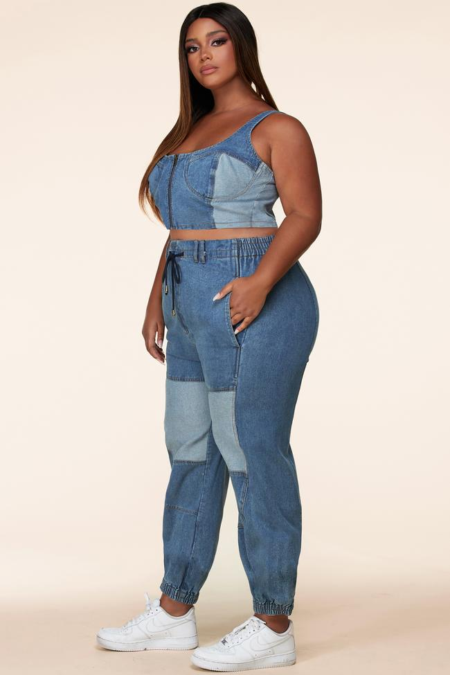 Color Block Two Piece Denim Set