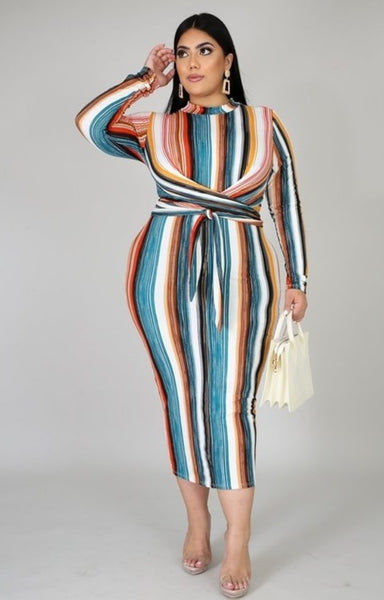 Multi Color Front Striped Tie Dress