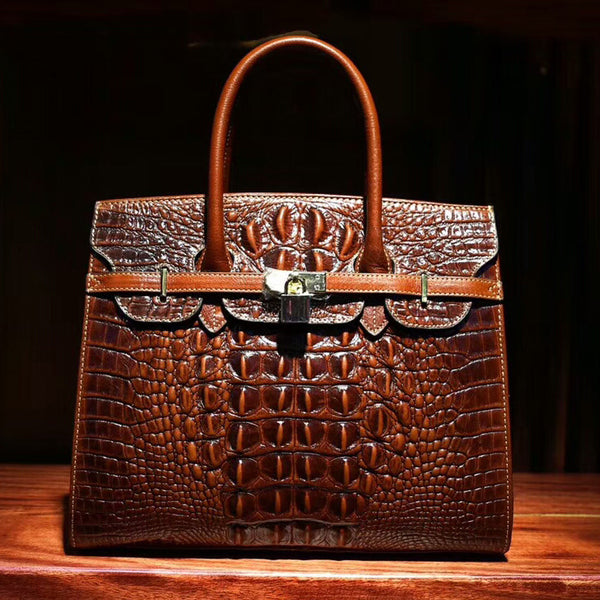Peggy Crocodile Embossed Padlock Satchel