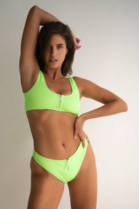 Ribbed Zip Top in Lime FINAL SALE