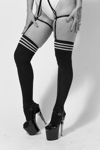 Black Stripe Overtheknee Socks