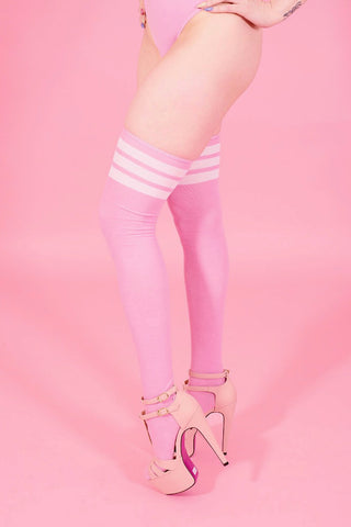 Pink Stripe Overtheknee Socks