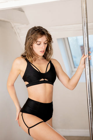 ALL THE FEELS: Baby Valentine Top Black - CHANTAY POLEWEAR