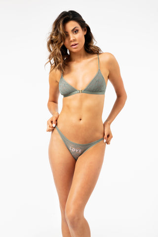 ALL THE FEELS: Beau Bralette in Leopard Agave Green - LOVE STORIES