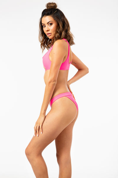 Cole Ribbed Bottoms in Heart Throb Pink