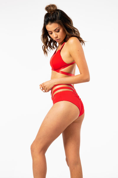 ALL THE FEELS: Cross Over Shorts in Red - LUNA POLE WEAR