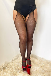 ALL THE FEELS: Fishnet Garter Diamonte Stockings in Black - LUNA POLEWEAR LUNALAE