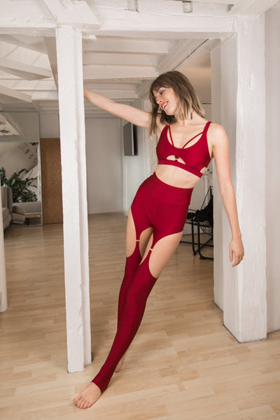 ALL THE FEELS: Floorplay Leggings in Bordeaux- CHANTAY POLEWEAR