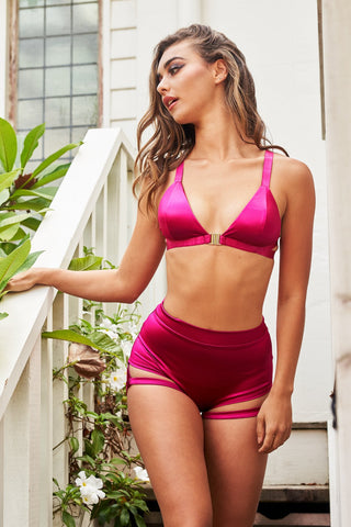 ALL THE FEELS: Follow Me Bra in Satin Magenta - LUNA POLEWEAR LUNALAE