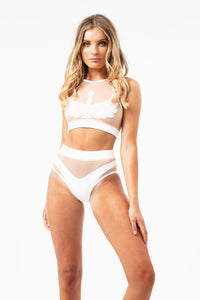 ALL THE FEELS: ISIS Goddess Halter Top in White with Sand Mesh - CREATURES OF XIX