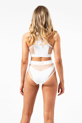 ALL THE FEELS: Goddess High Waisted Bottoms in White with Sand Mesh - CREATURES OF XIX