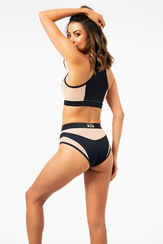 ALL THE FEELS: Goddess High Waisted Bottoms in Black with Sand Mesh - CREATURES OF XIX