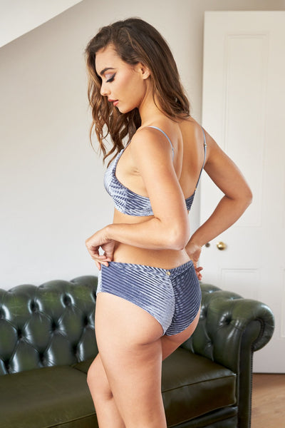 ALL THE FEELS: Lana Top in Silver Blue - LUNA POLEWEAR LUNALAE